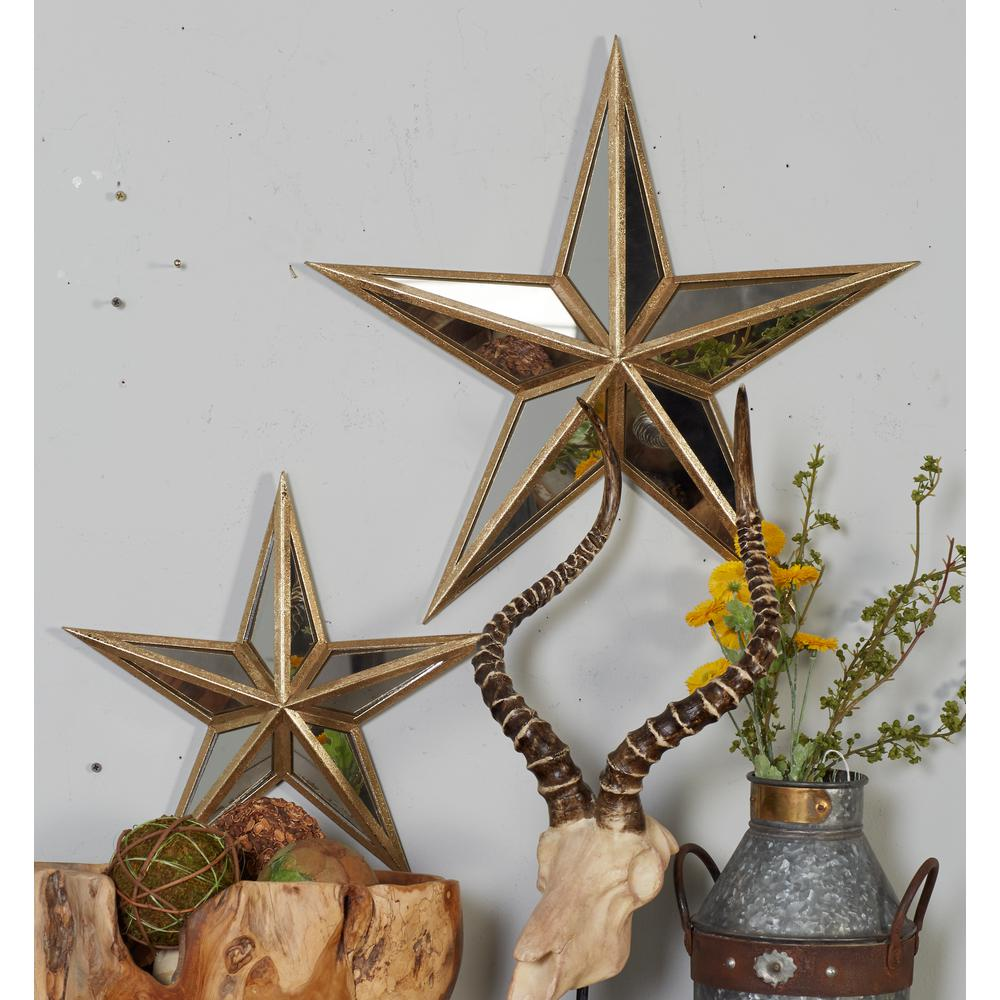Mirrored Star Wall Decor: Home Decorators Collection Ari 30 In. Antique Gold Metal