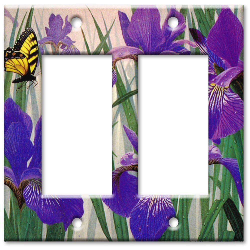 Art Plates Butterfly in Irises Oversize 2 Rocker Wall Plate