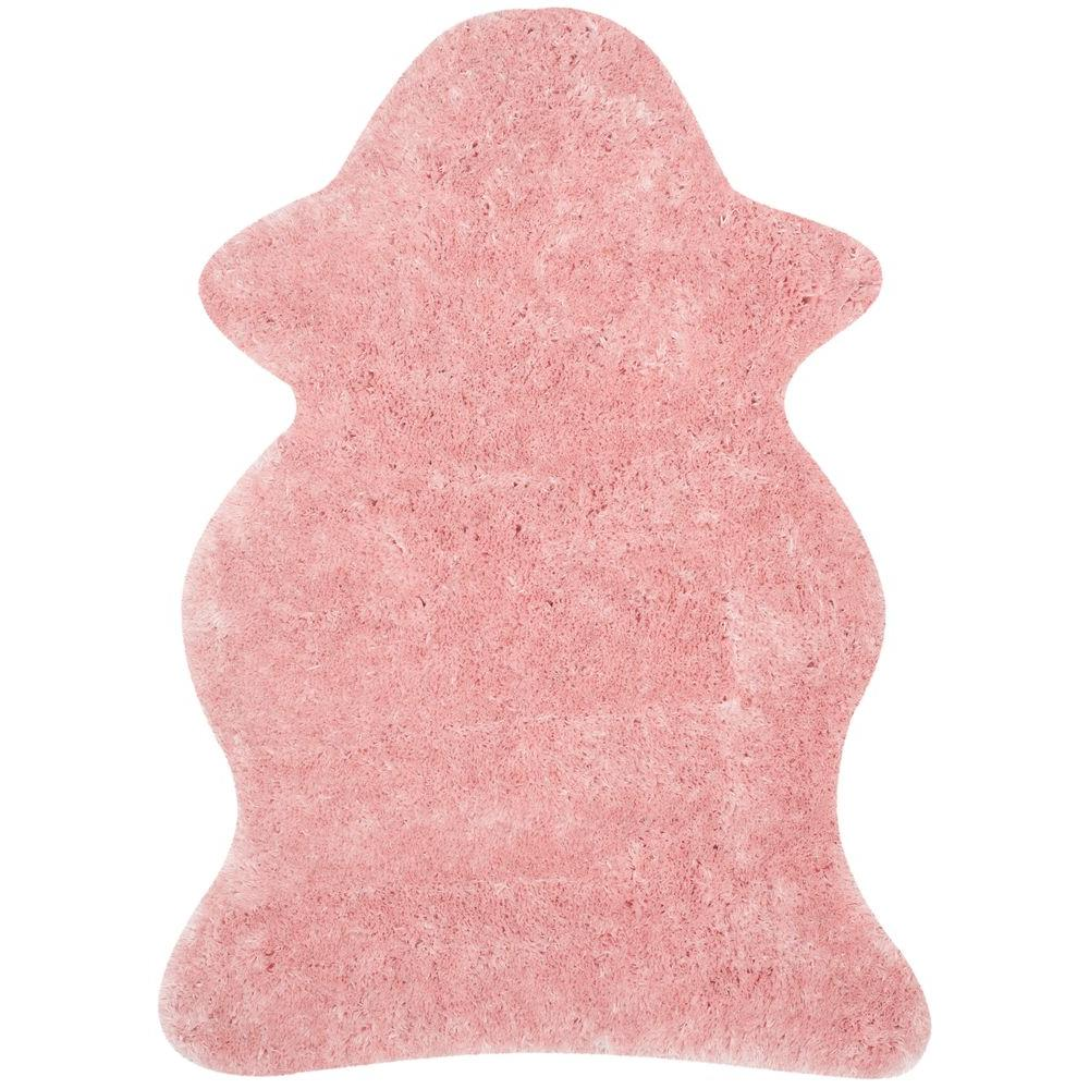 Arctic Shag Pink 5 ft. x 7 ft. Scalloped Area Rug
