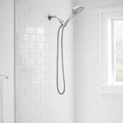 Modern 6-Spray 4.5 in. Single Wall Mount Handheld Adjustable Shower Head in Chrome