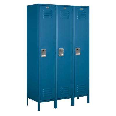 18-51000 Series 3 Compartments Single Tier 54 In. W x 78 In. H x 18 In. D Metal Locker Unassembled in Blue