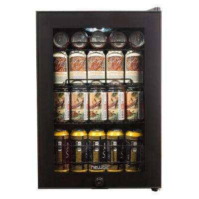 17 in. 90 Can Black Freestanding Beverage Cooler
