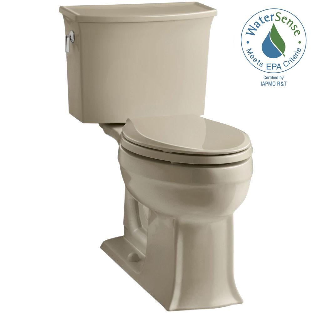 KOHLER Archer Comfort Height 2-piece 1.28 GPF Elongated Toilet with AquaPiston Flushing Technology in Mexican Sand