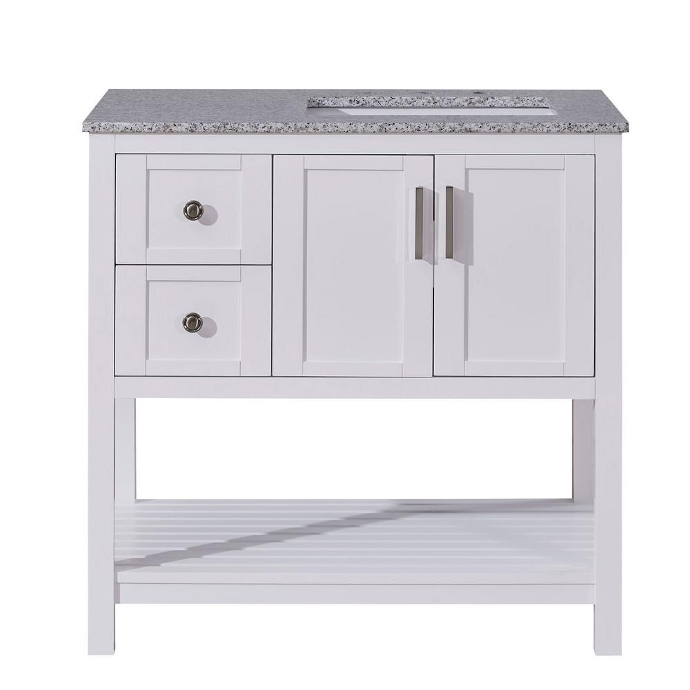 Silkroad Exclusive 36 in. W x 22 in. D Bath Vanity in White with Granite Vanity Top in Sesame White with White Basin