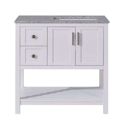 36 in. W x 22 in. D Bath Vanity in White with Granite Vanity Top in Sesame White with White Basin