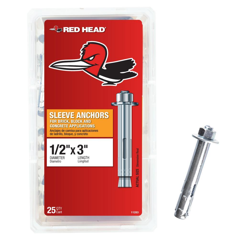 1/2 in. x 3 in. Steel Hex-Nut-Head Sleeve Anchors (25-Pack)