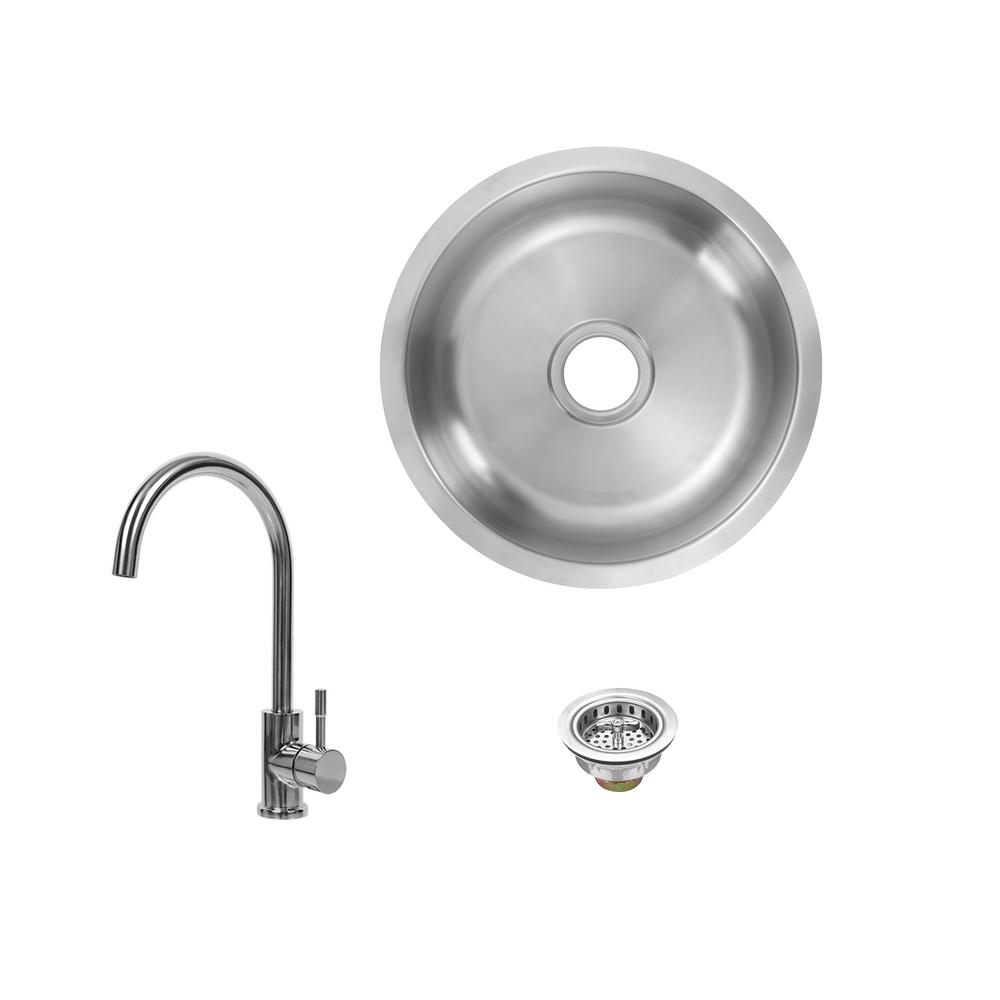 Glacier Bay All-in-1 Undermount 18-Gauge Stainless Steel 16 in. 0-Hole Round Single Bowl Bar Sink with Gooseneck Kitchen Faucet