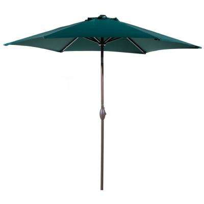 9 ft. Aluminum Outdoor Market with Tilt and Crank Patio Umbrella in Dark Green