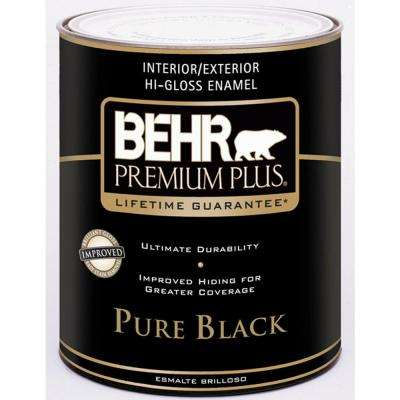 1 qt. Pure Black Hi-Gloss Enamel Interior/Exterior Paint