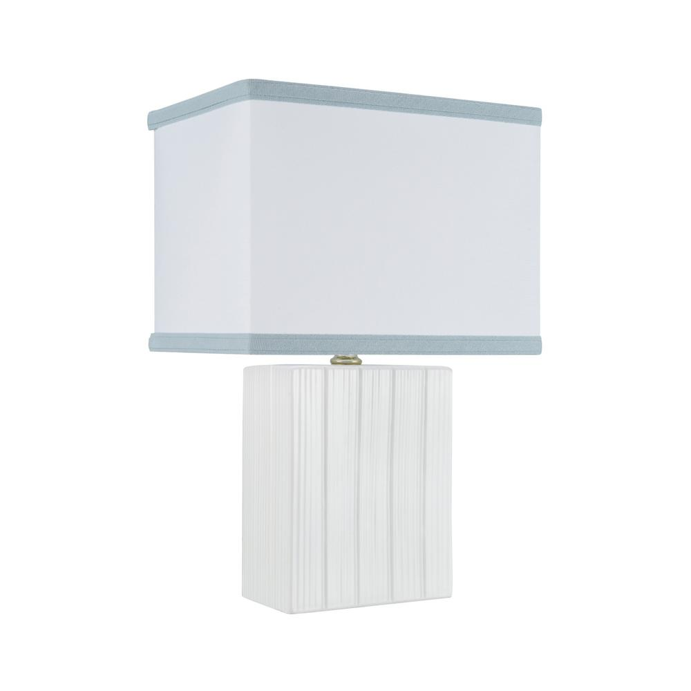 Ivory Ceramic Table Lamp With Hardback Rectangle Shaped Shade In Off White