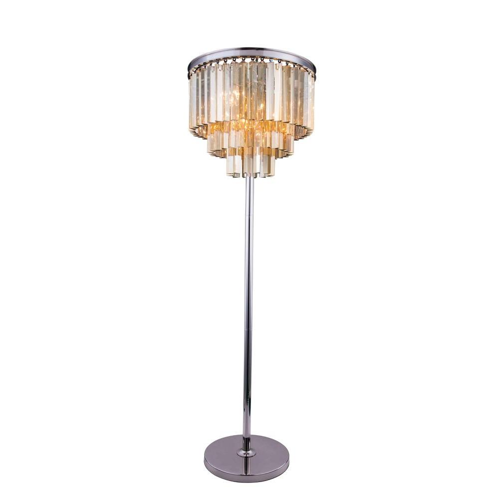 cheap for discount 1fd16 b1a5c Elegant Lighting Sydney 63 in. Polished Nickel Floor Lamp with Golden Teak  Smoky Crystal