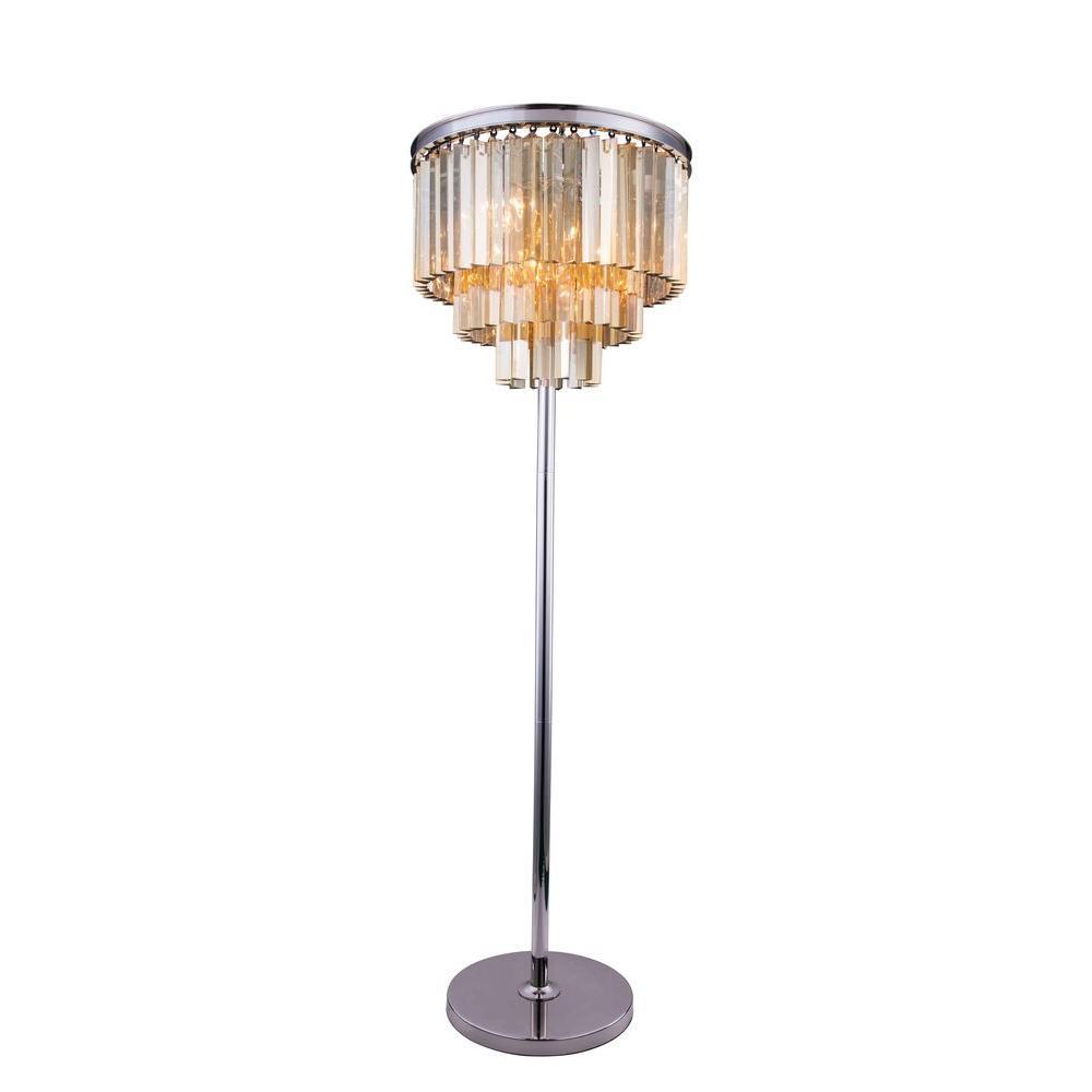 Sydney 63 in. Polished Nickel Floor Lamp with Golden Teak Smoky Crystal