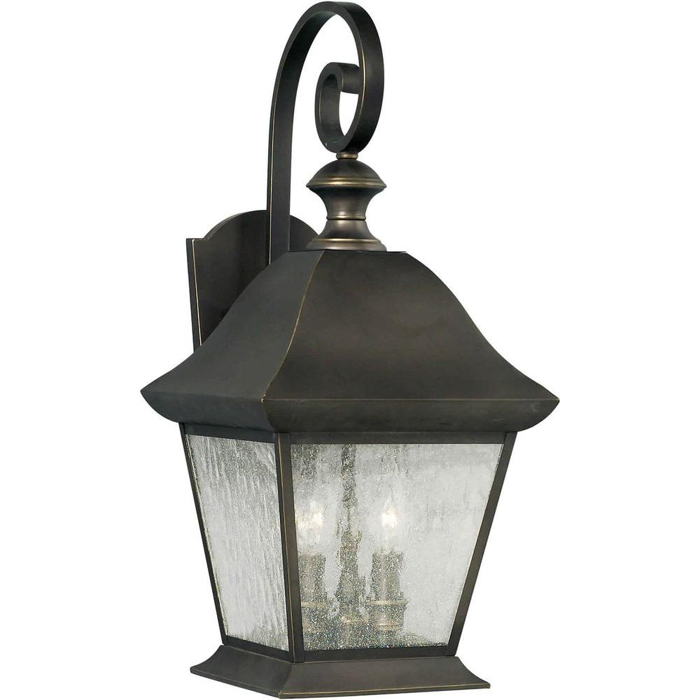 Talista 4 Light Outdoor Lantern Royal Bronze Finish Clear Seeded Glass Panels
