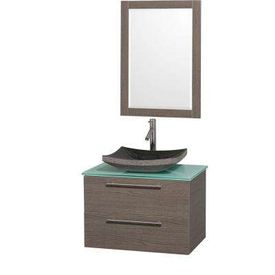 Amare 30 in. Vanity in Grey Oak with Glass Vanity Top in Aqua and Black Granite Sink
