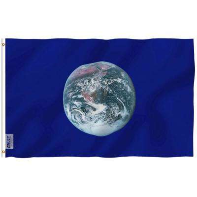 Fly Breeze 3 ft. x 5 ft. Polyester Earth Day Flag 2-Sided Flags Banners with Brass Grommets and Canvas Header