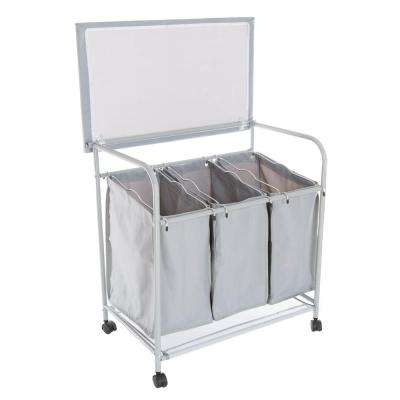 29.5 in. Rolling 3 Bin Laundry Sorter and Ironing Station