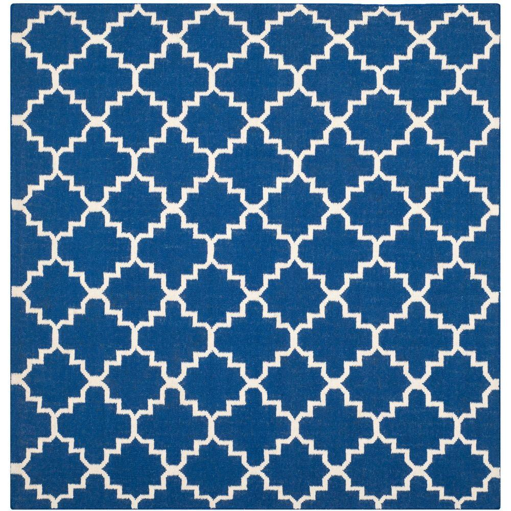Dhurries Dark Blue 8 ft. x 8 ft. Square Area Rug