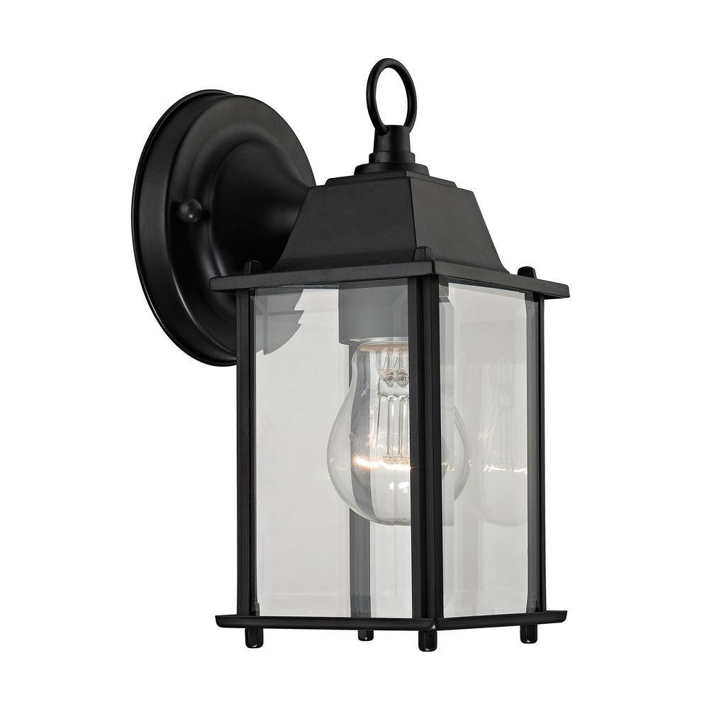 1-Light Matte Black Outdoor Wall Sconce