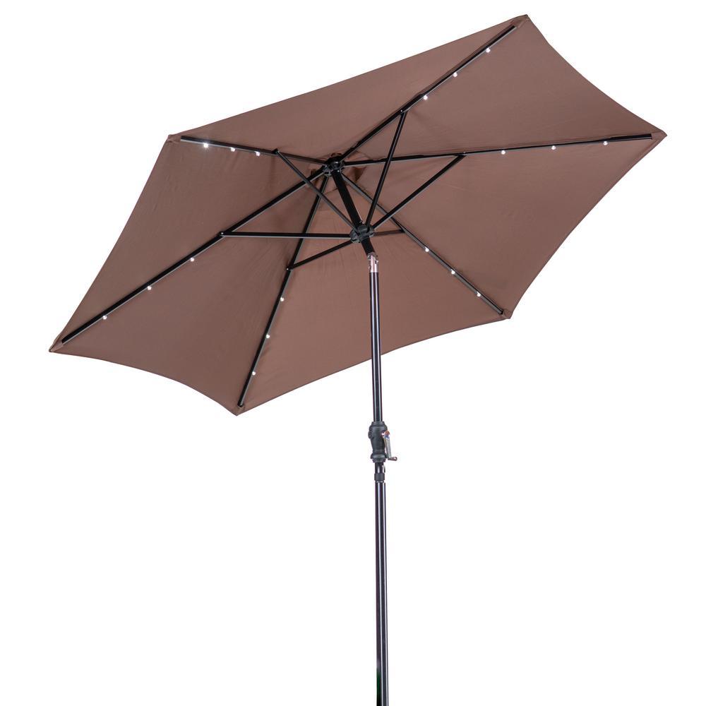 SunRay 9 ft. Round Solar Lighted Market Umbrella in Cocoa