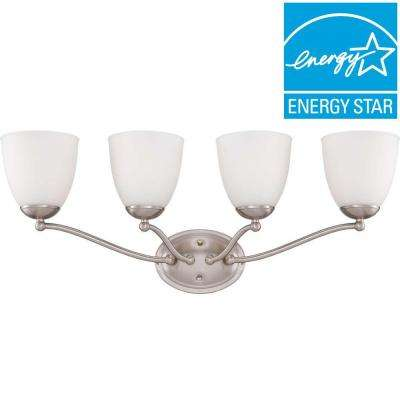 4-Light Brushed Nickel Vanity Fixture with Frosted Glass Shade