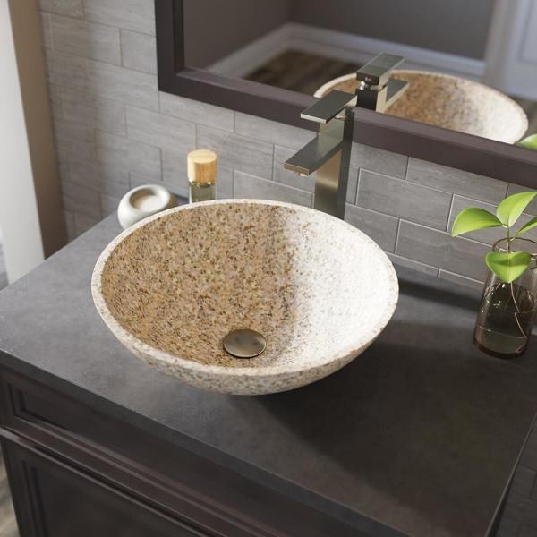 Mr Direct Stone Vessel Sink In Honed Basalt Tan Granite With 721 Faucet And Pop Up Drain In Brushed Nickel 850 T 721 Bn The Home Depot