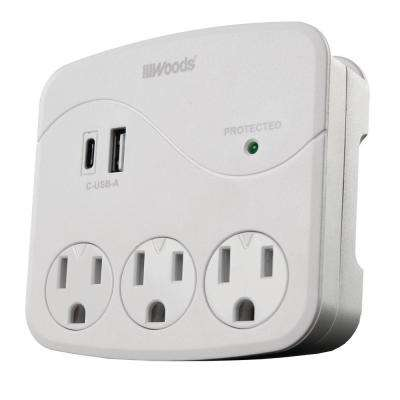 2- Outlet Surge Wall Tap with Phone Cradle