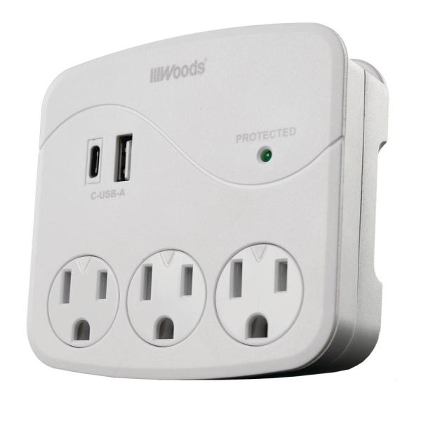 3- Outlet Surge Wall Tap with Phone Cradle and USB ports