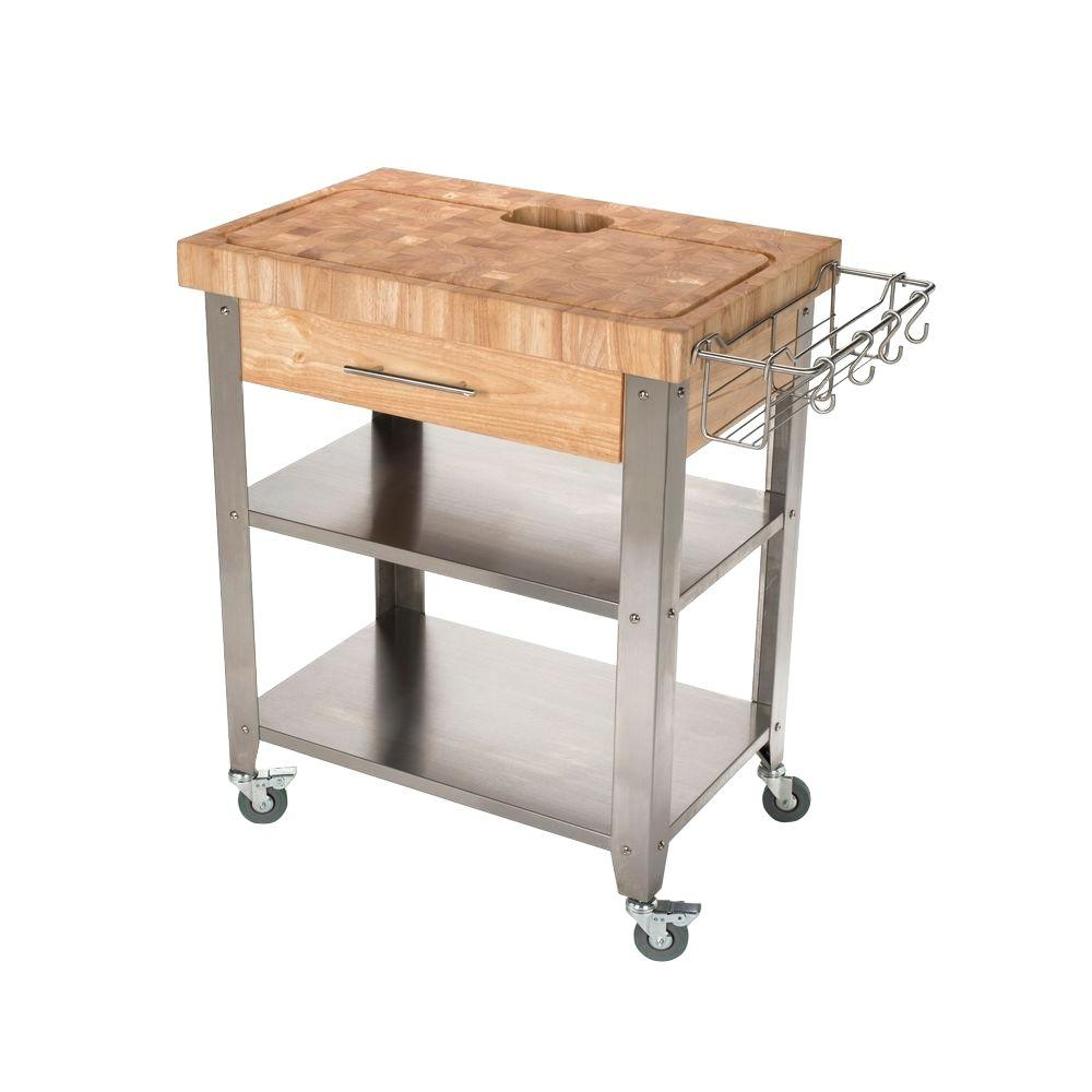 chris chris pro stadium stainless steel kitchen cart with chop drop system - Kitchen Carts