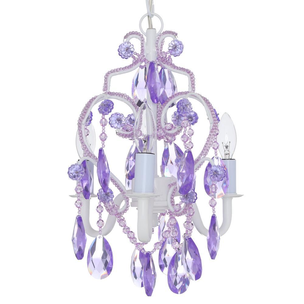 Tadpoles 3 Light Lavender Topaz Mini Chandelier Cchapl005 The Home Depot