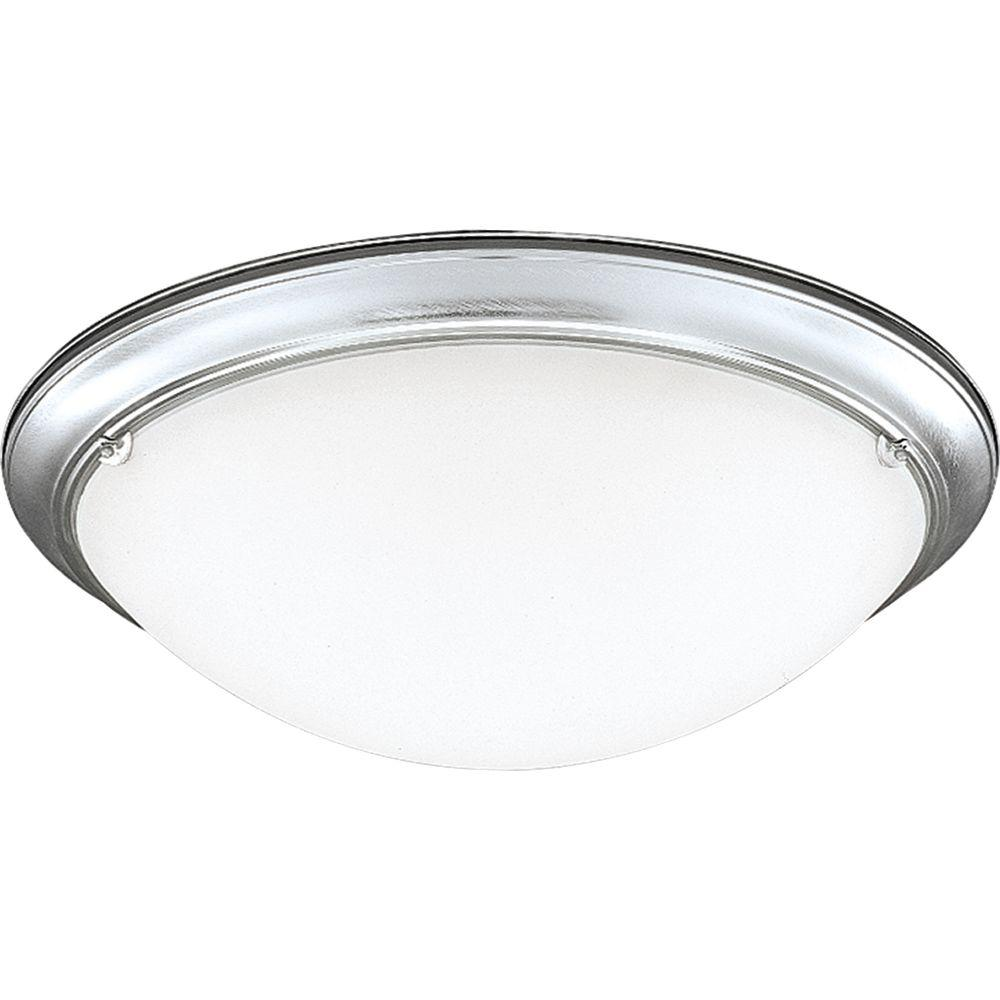 Progress Lighting Eclipse Collection 4-Light Brushed Steel Flush Mount-DISCONTINUED