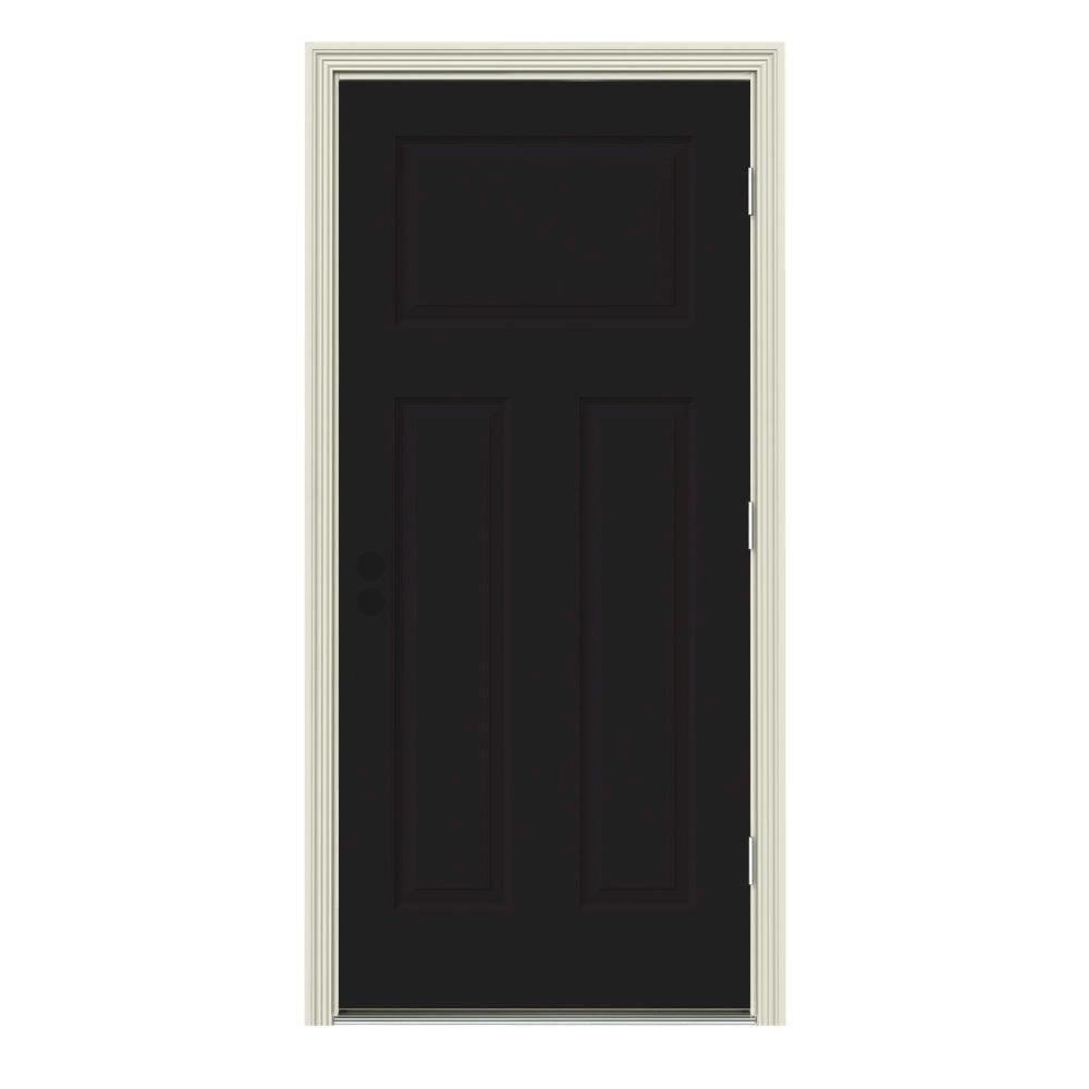 30 in. x 80 in. 3-Panel Craftsman Black Painted Steel Prehung