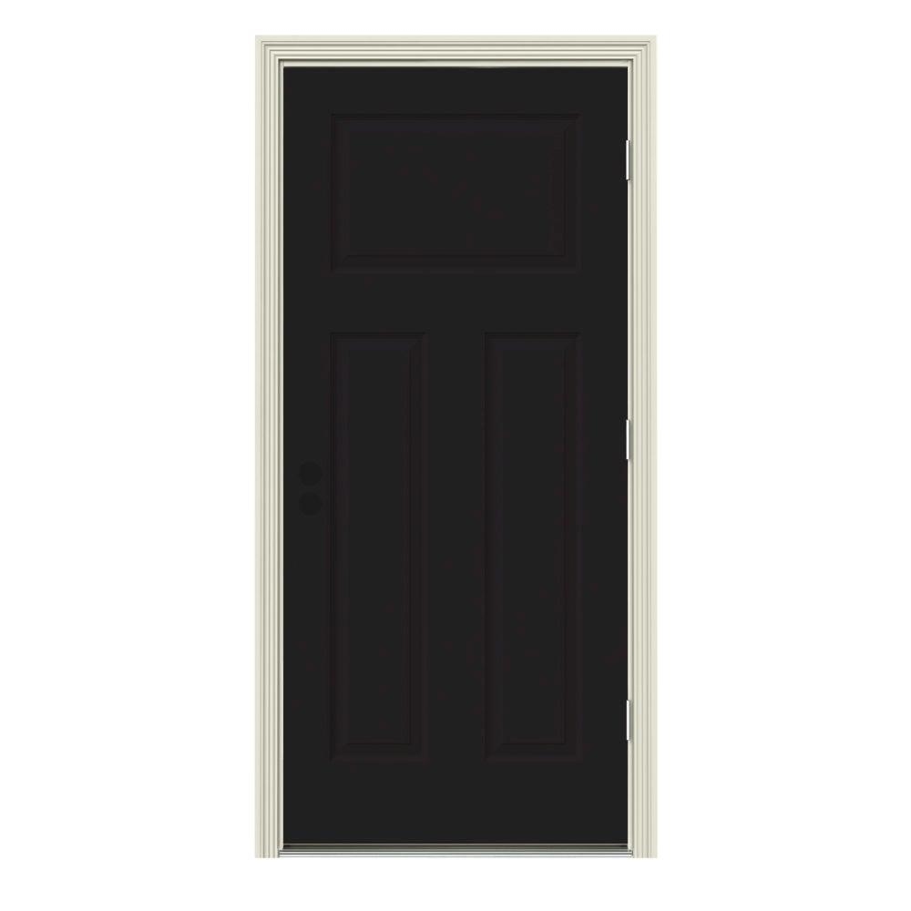 JELD WEN 34 In. X 80 In. 3 Panel Craftsman Black Painted