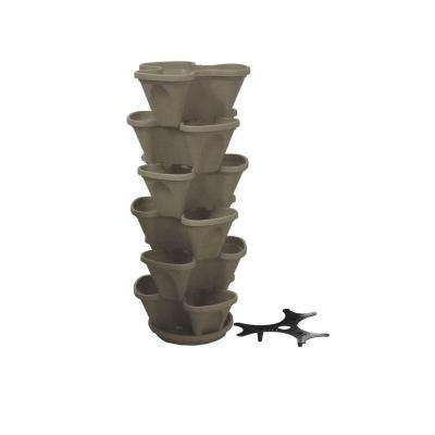 12 in. Self Watering Stone Stacking Plastic Planter Set (6-Pack)