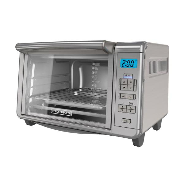 BLACK+DECKER 6-Slice Dining-In Digital Countertop Silver Toaster Oven TO3280SSD
