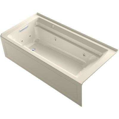 Archer 72 in. Left-Hand Drain Rectangular Apron Front Whirlpool and Air Bath Bathtub in Almond