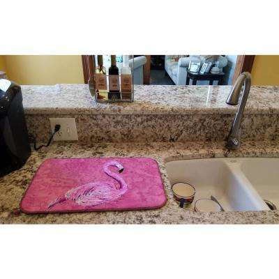 14 in. x 21 in. Multicolor Flamingo on Pink Dish Drying Mat