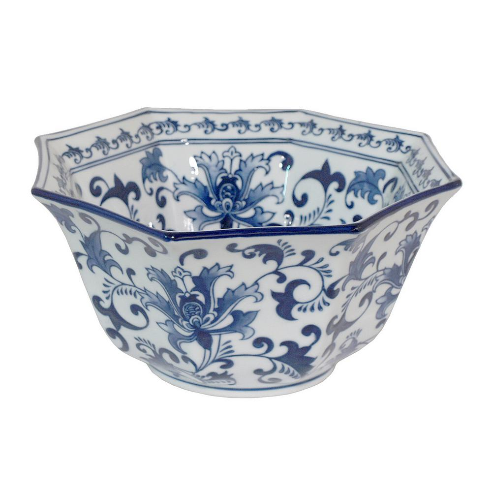 Three Hands Ceramic Blue And White Bowl