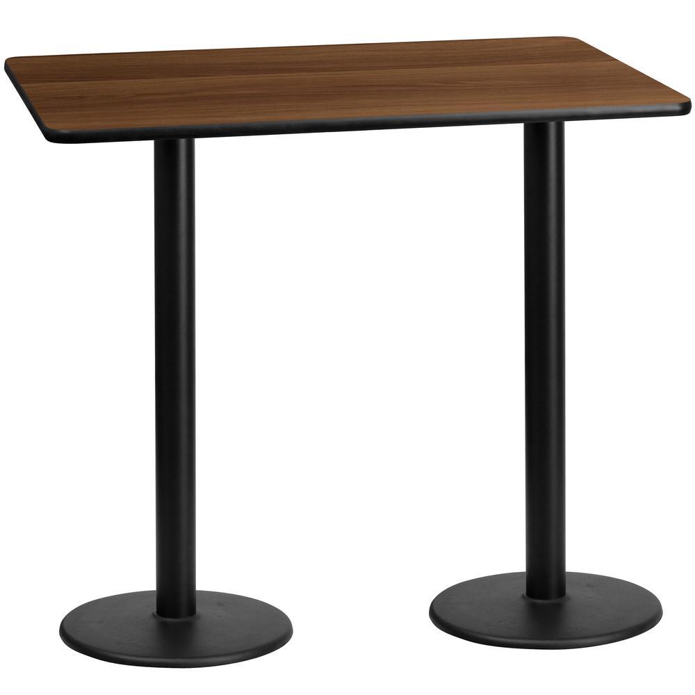 Flash Furniture 30 In. X 60 In. Rectangular Black And Walnut Laminate Table  Top