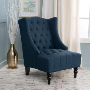 Admirable Noble House Toddman Dark Blue Fabric High Back Accent Chair Pabps2019 Chair Design Images Pabps2019Com