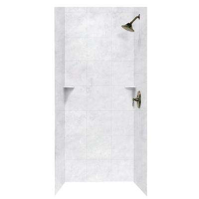 Square Tile 36 in. x 36 in. x 96 in. 3-Piece Easy Up Adhesive Alcove Shower Surround in Ice