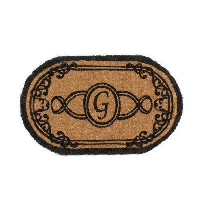 Perfect Home Lexington Brown 30 in. x 18 in. Oval Monogram G Door Mat-DISCONTINUED