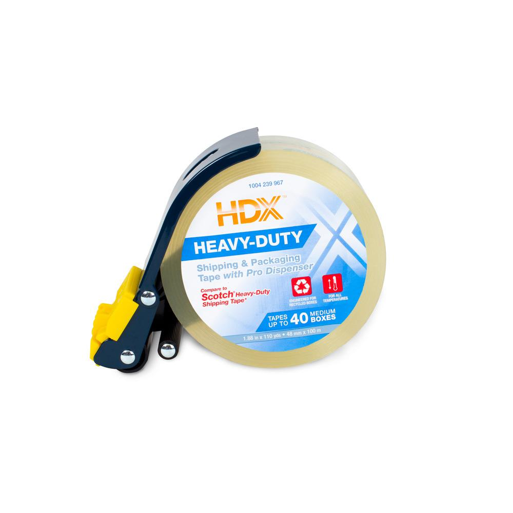 HDX HDX 1.88 in. x 110 yds. Clear Heavy Duty Shipping Packing Tape with 3 in. Metal Pro Dispenser