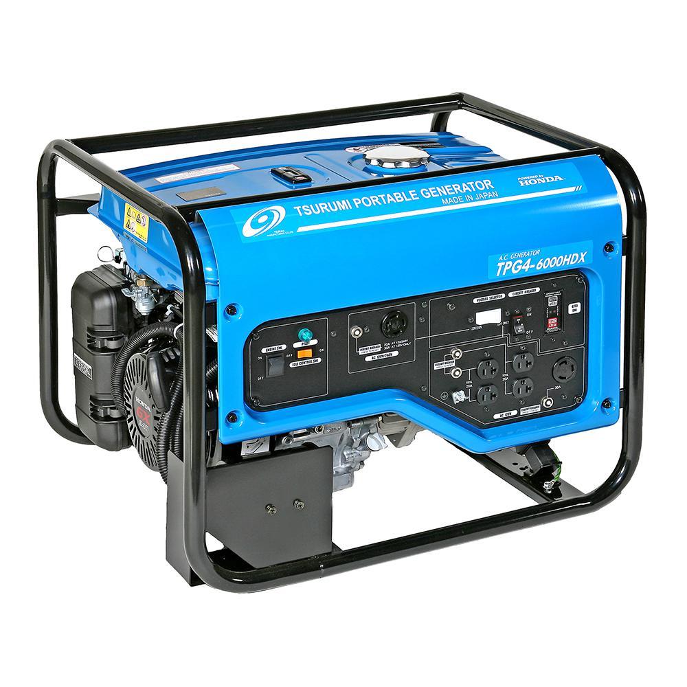 TSURUMI PUMP 4,800 Watt Gasoline Powered Portable Blue Generator with GFCI Protection and Honda GX340 Engine by TSURUMI PUMP