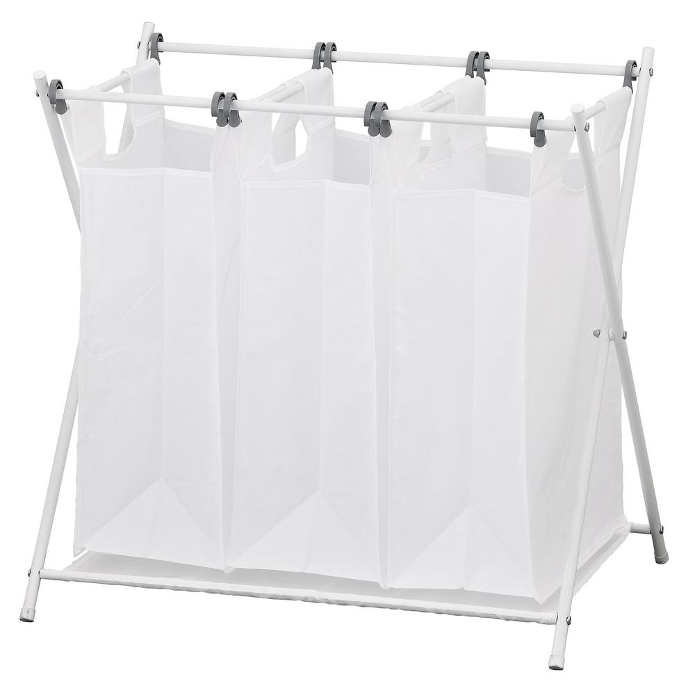 Wayar White Chrome Triple Foldable Laundry Sorter