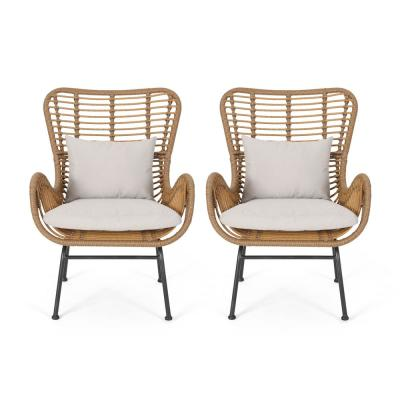 Montana Light Brown and Beige Fabric Removable Cushions Club Chair (Set of 2)