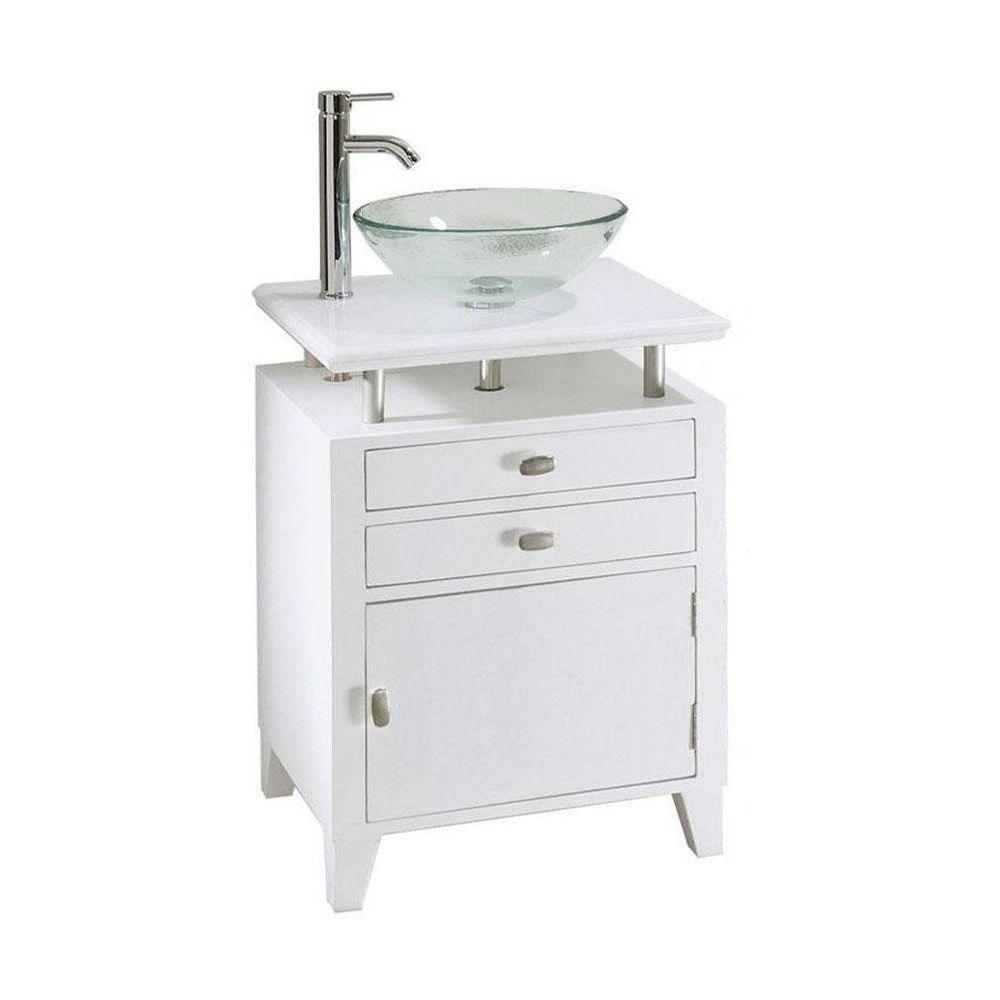 Home Decorators Collection Moderna 24 in. W x 21 in. D Bath Vanity in White with Marble Vanity Top in White and Wood Door