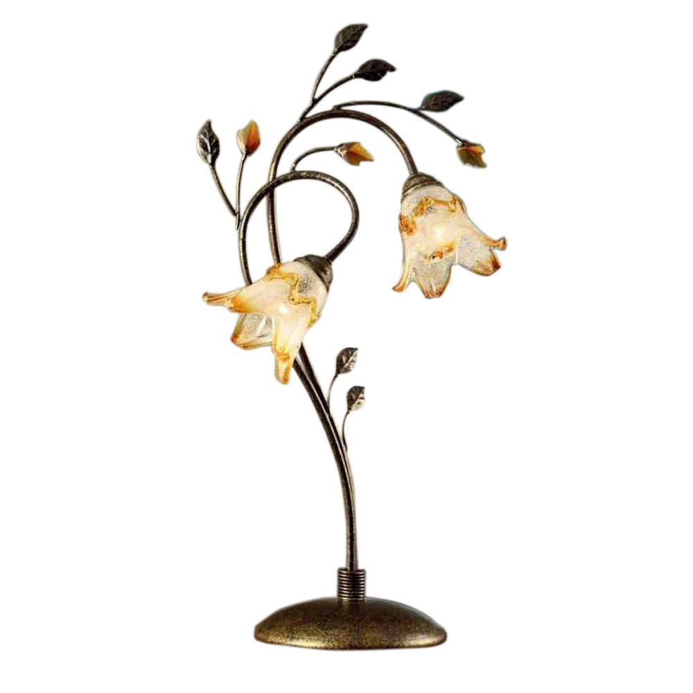 Ok Lighting 30 In Bronze Windance Floral Table Lamp Ok