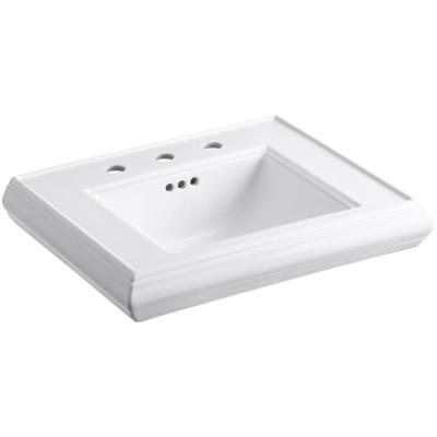 Memoirs Classic 24 in. Ceramic Pedestal Sink Basin in White with Overflow Drain