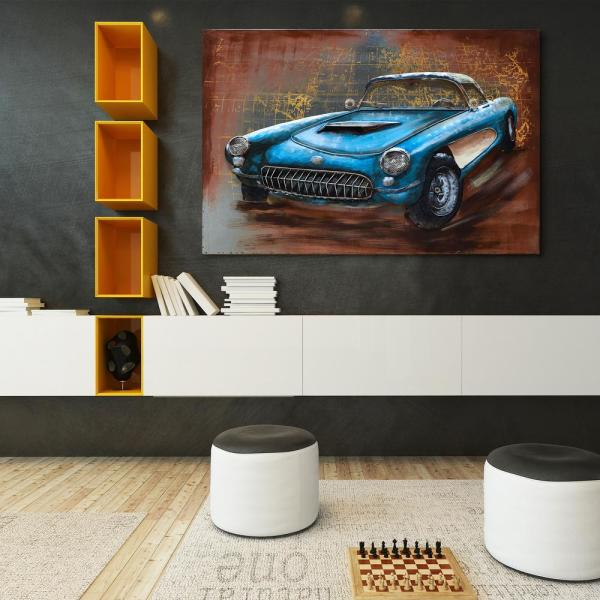 ''Blue car'' Mixed Media Iron Hand Painted Dimensional Wall Decor PMO-F1115-4832