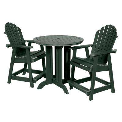 Muskoka Charleston Green 3-Piece Plastic Round Counter Outdoor Dining Set